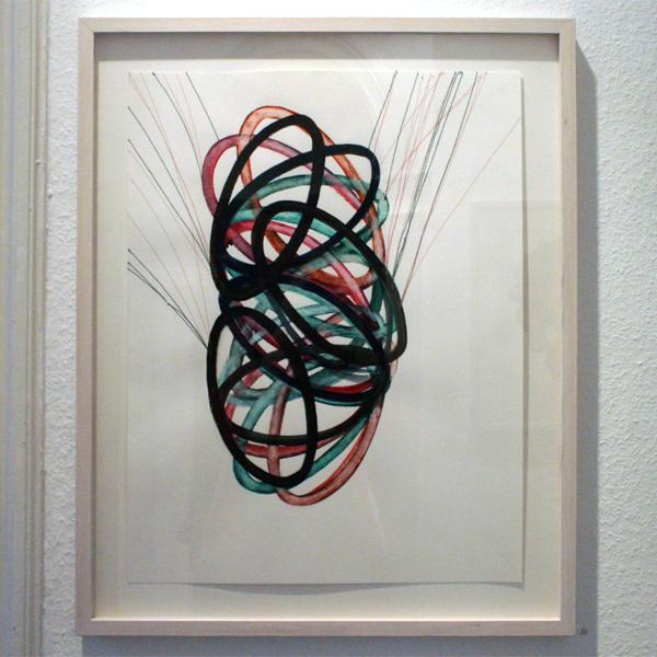 Huub van der Loo - Zonder Titel (Bouncing)- 51x65cm Aquarel en naaigaren op papier