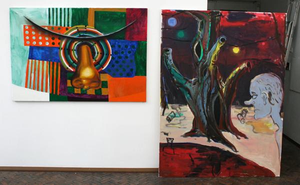 Simon Hemmer - Ohne Titel - 110x160cm Olieverf op canvas & Fritz Bornstuck - Dem Psychologen sein Sohn - 200x150cm Olieverf op canvas
