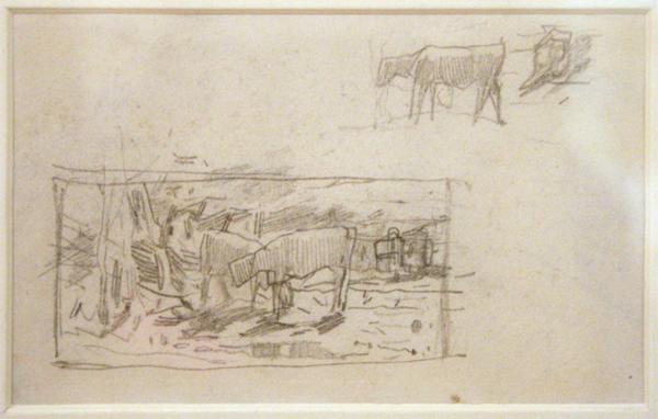 Willem Maris - Schets van koeien - Potlood op papier