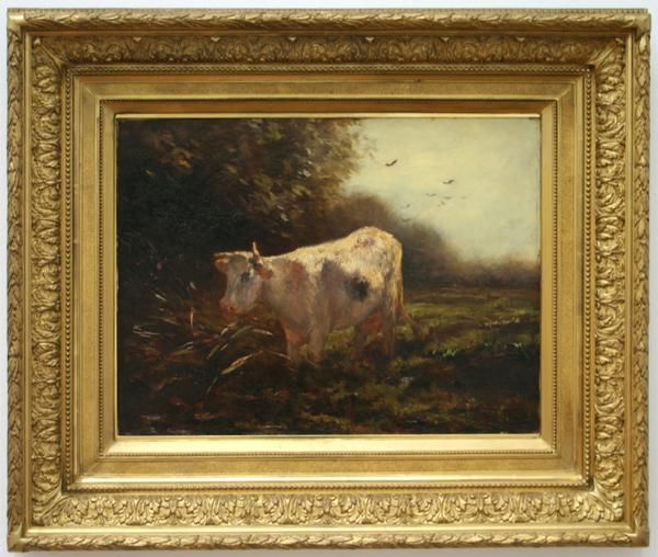 Willem Maris - Witte koe aan de waterkant - Olieverf op doek