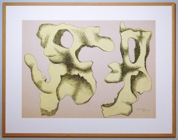 Fernand Leger - Yellow Flint on White Background - Gouache en Chinese inkt op papier, 1932