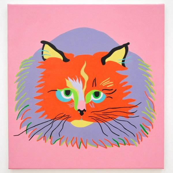 Leen Voet - Peinture inacheve de madame T, Witte Poes - 58x55cm Olieverf op canvas