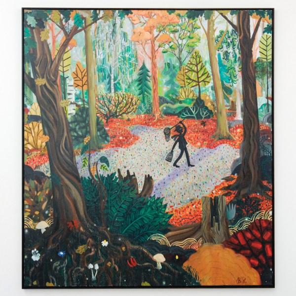 Ben Sledsens - Chasing Birds - 200x180cm Spuitbus, olieverf en acrylverf op canvas