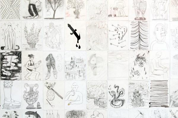 Ben Sledsens - Pulling Ropes - 190x193cm Collage van 204 tekeningen op papier (detail)