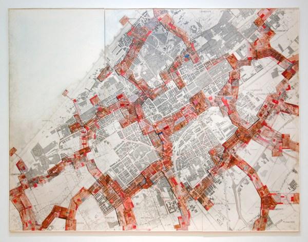 Constant Nieuwenhuijs - New Babylon, Den Haag - Waterverf op fotopapier op stadsplattegrond op spaanplaat, 1964