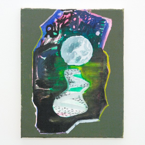 Shara Hughes - Big Moon - 36x28cm Olieverf en 'flashe' op canvas