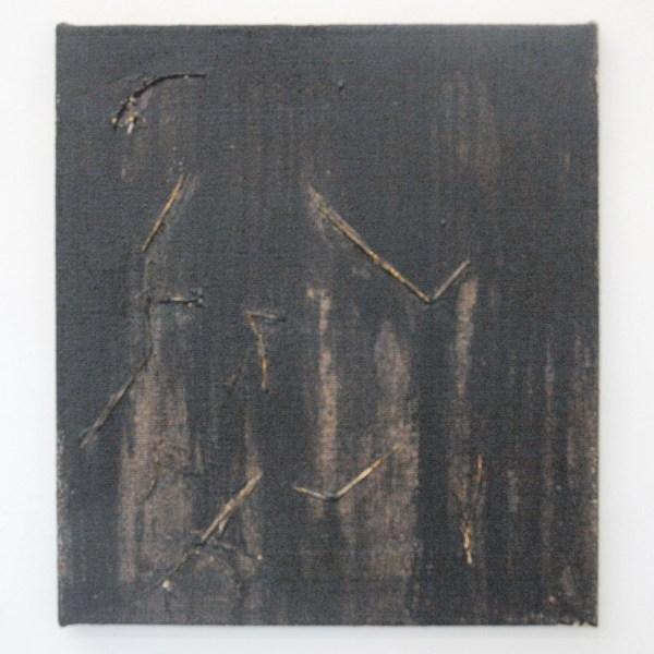 Klaas Kloosterboer - 16144 - 50x45cm Acrylverf, stro en jute