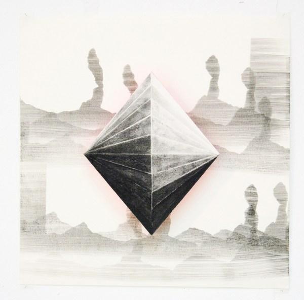 Lenneke van der Goot - Pyramide - 30x30x3cm Pastel, inkt en krassen