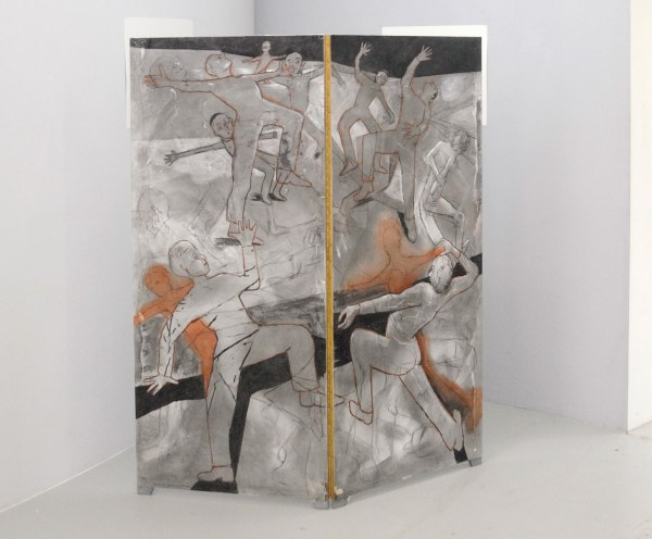 Roland Sohier - Electric Lady Land (kamerscherm) - 2 maal 175x74cm Houtskool en pastel op papier