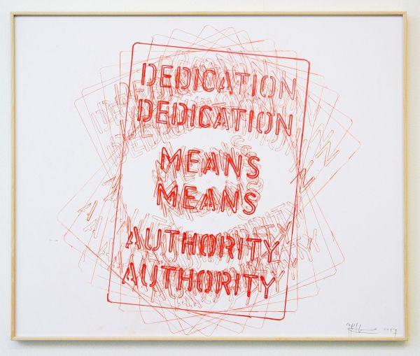 Job Koelewijn - Untitled (Dedication Means Authority) - 50x70cm Pen op papier