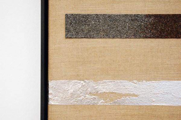 Frank Ammerlaan - Linear Mutations - 85x65cm Aluminium, ijzer-vulling, meteorietdeeltjes op canvas en linnen (detail)