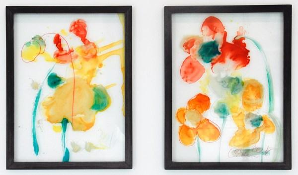 Jarg Geismar - Flowers 1 & 2 - 30x40cm Glaskleuren, dermatograaf, hout en glas