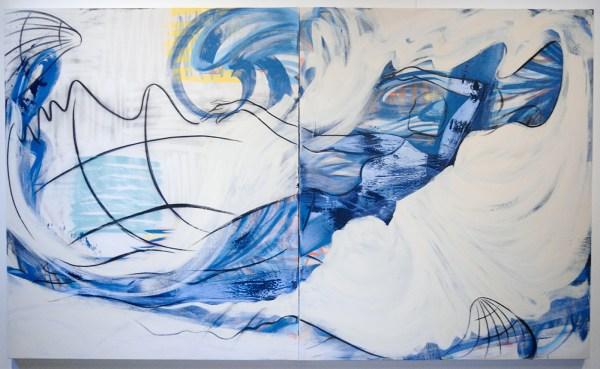 Janine van Oene - Familiar Face - 300x180cm, Spuitbus, Olieverf en houtskool op doek