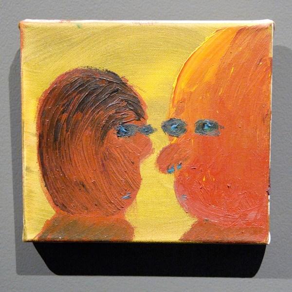 Julius Stibbe - Het gesprek - 18x20cm, Olieverf op doek