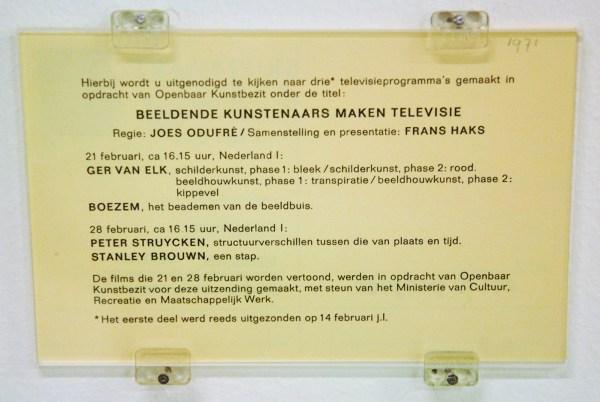 Openbaar Kunstebezit, beeldend kunstenaars maken televisie (fragment); stanley brouwn, 1971