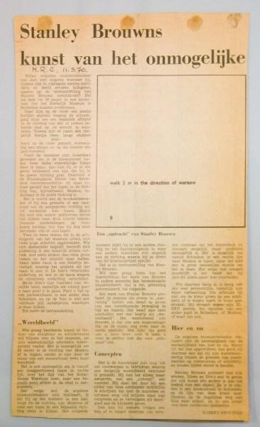 documentatie stanley brouwn - krantenknipsel