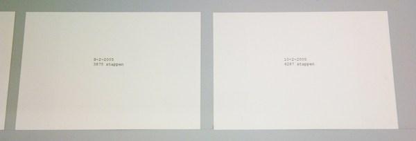 stanley brouwn - portrait of a week - Inkt op papier, tafelblad en schragen, 2005
