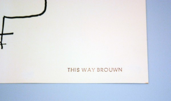 stanley brouwn - this way brouwn - Viltstift, inkt, potlood en stempel op papier, 1964 (detail)