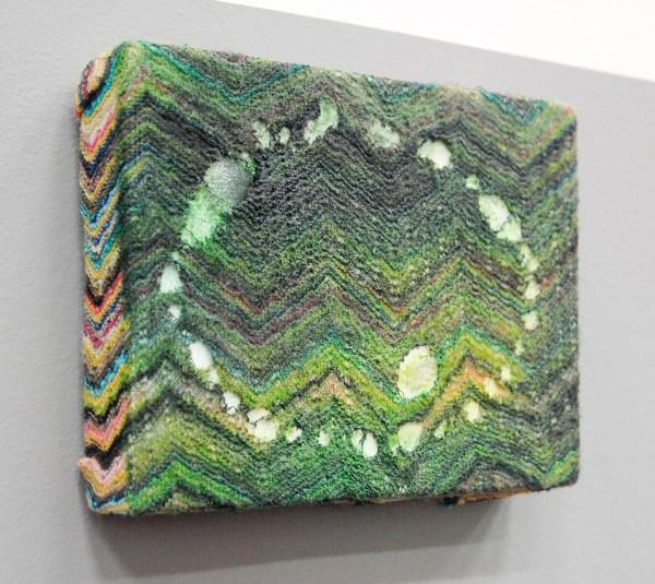 Jop Vissers Vorstenbosch - Circle cut-out, after G Matta-Clark - 21x30cm Olieverf en lak op gebreide stof op linnen