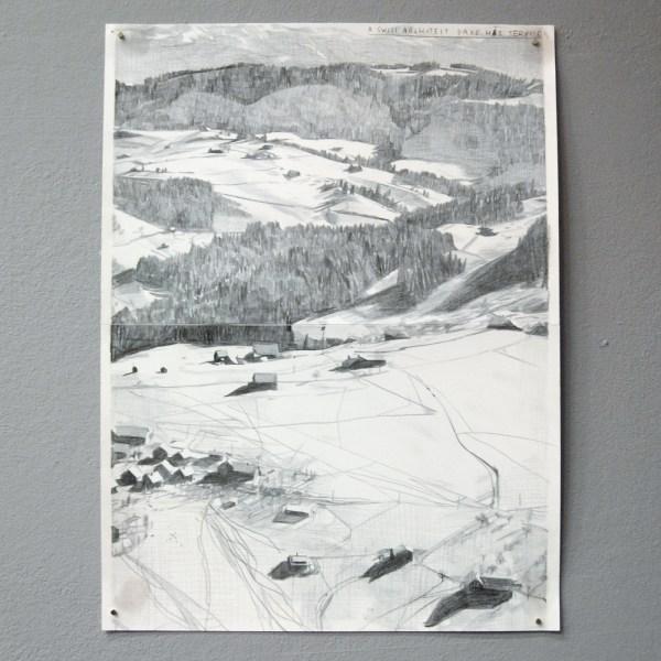 Rinus van de Velde - A Swiss Architext Gave His Service - 33x24cm Grafiet op papier