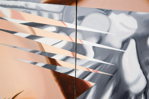 James Rosenquist - Through the Eye of the Needle and Anvil - Olieverf en acrylverf op canvas met olieverf op multiplex paneel (detail)