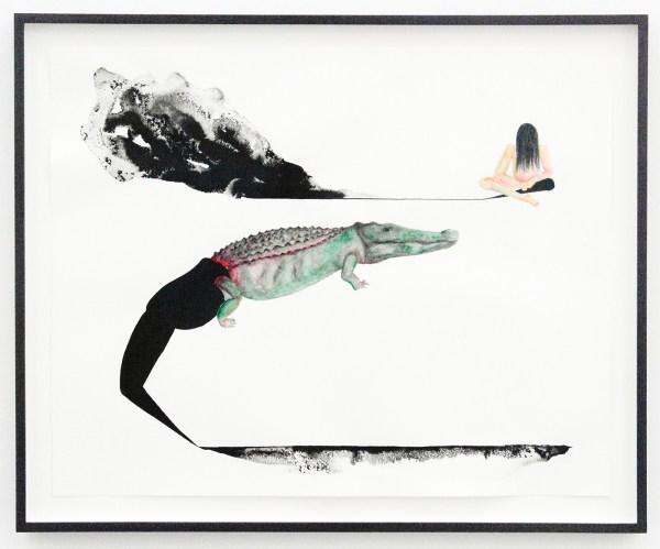 Grace Schwindt - Crocodile and Girl - 40x50cm Aquarel en oost-indische inkt op papier