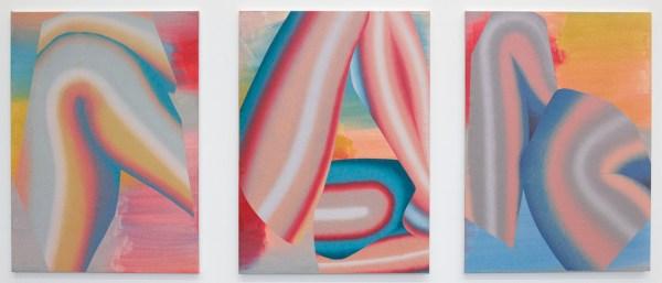Hadassah Emmerich - Blue Fold & Red Blue Fold & Blue Orange Fold - Olieverf en drukinkt op linnen