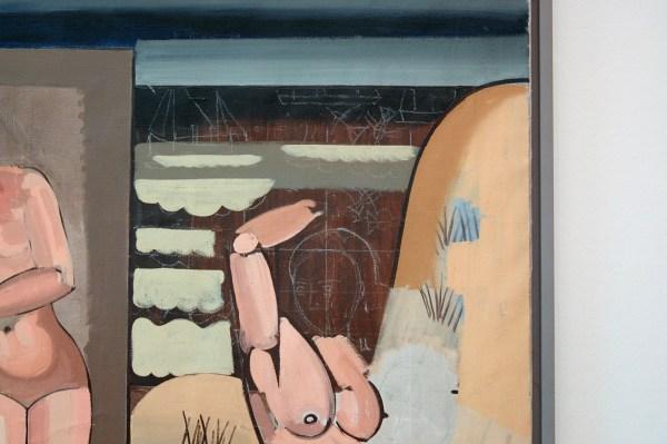 Jean Brusselmans - Vue Sur La Plage Avec Baigneuses (Strandgezicht met baadster) - Olieverf op doek, circa 1935 (detail)