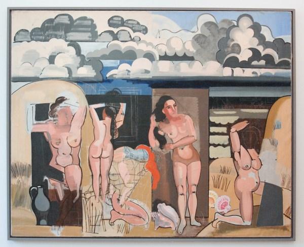 Jean Brusselmans - Vue Sur La Plage Avec Baigneuses (Strandgezicht met baadster) - Olieverf op doek, circa 1935