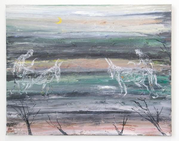 Grimm - Philippe Vandenberg - Étude pour la grande faim de l'âne (Study for the donkey's great hunger) - 80x100cm Olieverf en pastel op canvas
