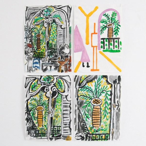 Marijn van Kreij - Untitled (Picasso, L'atelier de la Californie, 1955) - 3 tekeningen, 30x21cm & Untitled (Picasso, Interieur avec Famme dans un Rocking Chair, 1956) - 30x21cm, Gouache en potlood op papier
