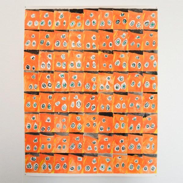 Marijn van Kreij - Untitled (Picasso, Nude in the Studio, 1953) - 214x152cm Gouache en potlood op papier, geschilderd samen met kinderen van Jinryo Elementary School, Kamiyama, Japan