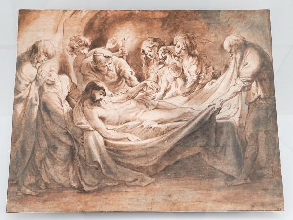 Peter Paul Rubens - De zalving van het lichaam van Christus - Pen en penseel in bruine en grijze inkt over zwart krijt, gewassen in bruin en grijs, witte dekverf, 1600-1608§
