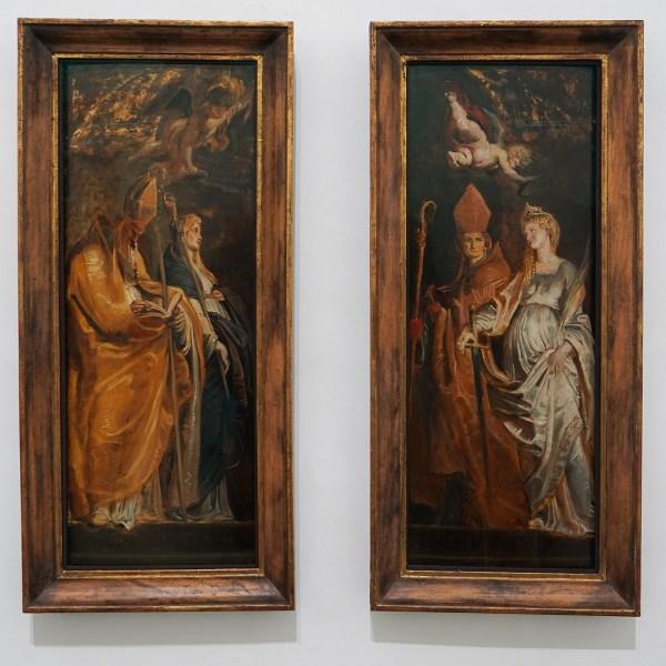 Peter Paul Rubens - De heiligen Amandus en Walburgis, De heiligen Catharina van Alexandrie en Eligius - Olieverf op paneel