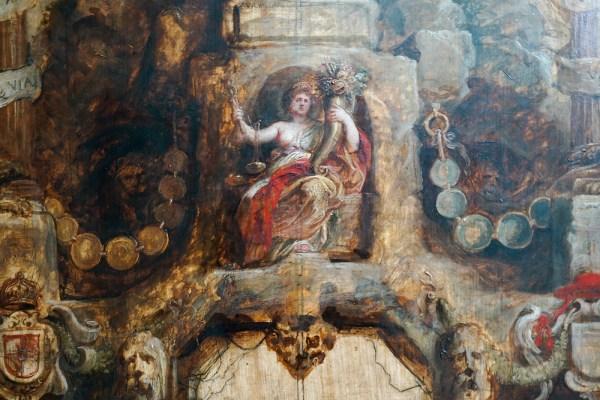 Peter Paul Rubens - De voorzijde & de achterzijde van de erepoort van De Munt - Olieverf op paneel, 1634-1635 (detail)