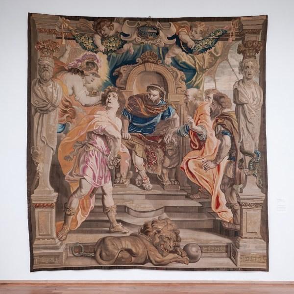 Daniel Eggermans (naar ontwerp van Peter Paul Rubens) - Achilles vertoornd op Agamemnon - wol, zijde, zilver en gouddraad, 1639