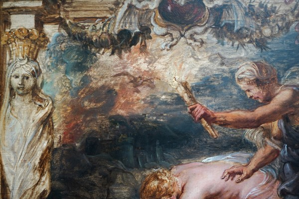 Peter Paul Rubens - Thetis dompelt Achilles in de Styx - Olieverf op paneel, 1635 (detail)