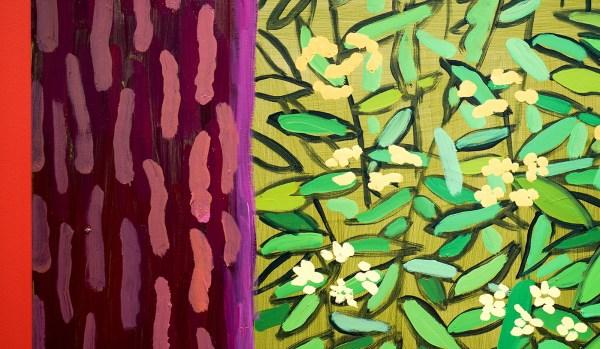 David Hockney - Onder de bomen, groter - Olieverf op 20 doeken, 2010-2011 (detail)