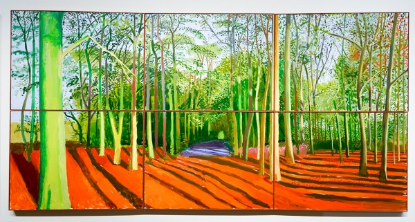 David Hockney - Woldgate Woods, 30 maart - 21 april 2006 - Olieverf op 6 doeken