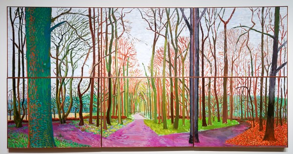 David Hockney - Woldgate Woods, 6 & 9 november 2006 - Olieverf op 6 doeken