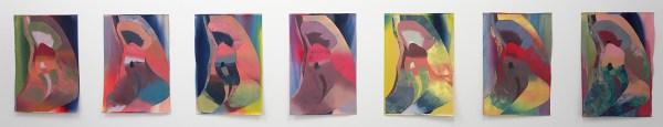 Hadassag Emmerich - Untitled (9 keer) - 77x52cm Olieverf en inkt op papier