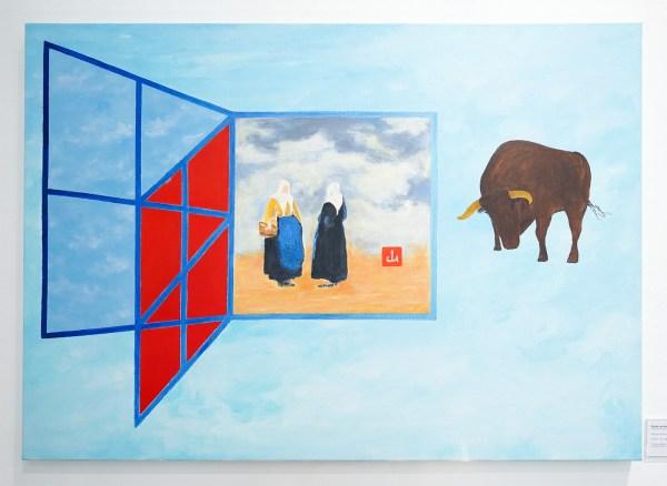 Woody van Amen - Gezigt op Delft - 85x120cm Acrylverf op canvas