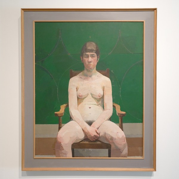 Euan Uglow - Nude with Green Background - Olieverf op doek, 1964-1965