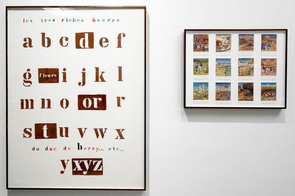 Marcel Broodthaers - Les Tres Riches Heures du Duc de Berry - Diptiek, 12 prentkaarten op karton en olieverf op doek