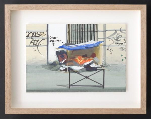 Olphart den Otter - 75018, Paris #2 (Postcodeserie) - 18x26cm, Eitempera op papier
