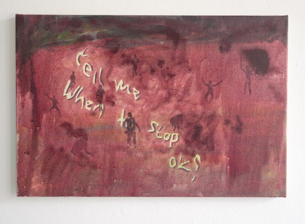Henry Byrne - Tell me when to stop OK? (Appropriated painting of Jacco Olivier) - 40x60cm Acrylverf en olieverf op linnen