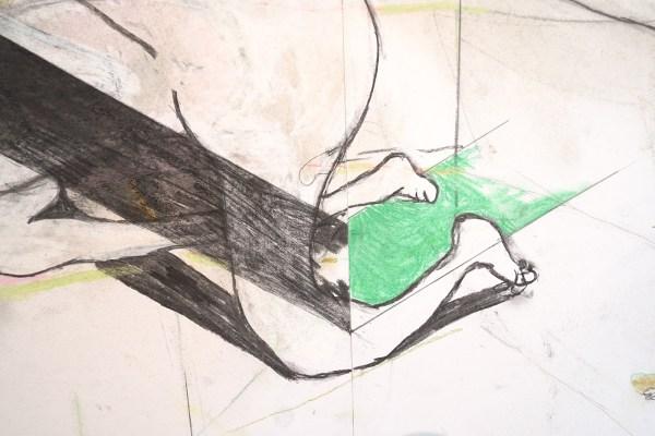 Roland Sohier - Burden - Houtskool en pastel op papier (detail)