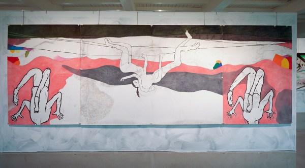 Roland Sohier - Ondersteboven - Houtskool en pastel op papier