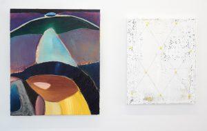 Julius Stibbe - Tsjilp - 60x50cm Olieverf op canvas & Ronald Zuurmond - Detail of a Larger World (Raster II) - 50x40cm Olieverf en draad op canvas