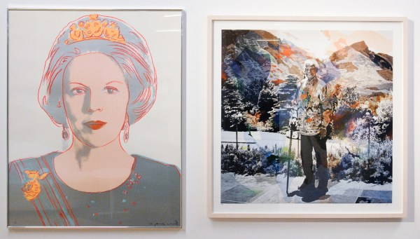 Andy Warhol - Queen Beatrix of the Netherlands - 100x80cm Zeefdruk, 1984 & Berend Strik & Anton Corbijn - Mandela Landscape - 92x93cm Borduursel op foto, 2011